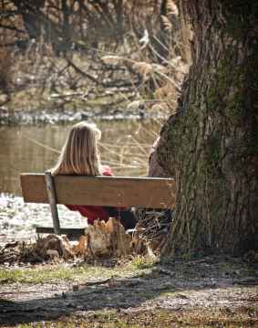 alone bench person river